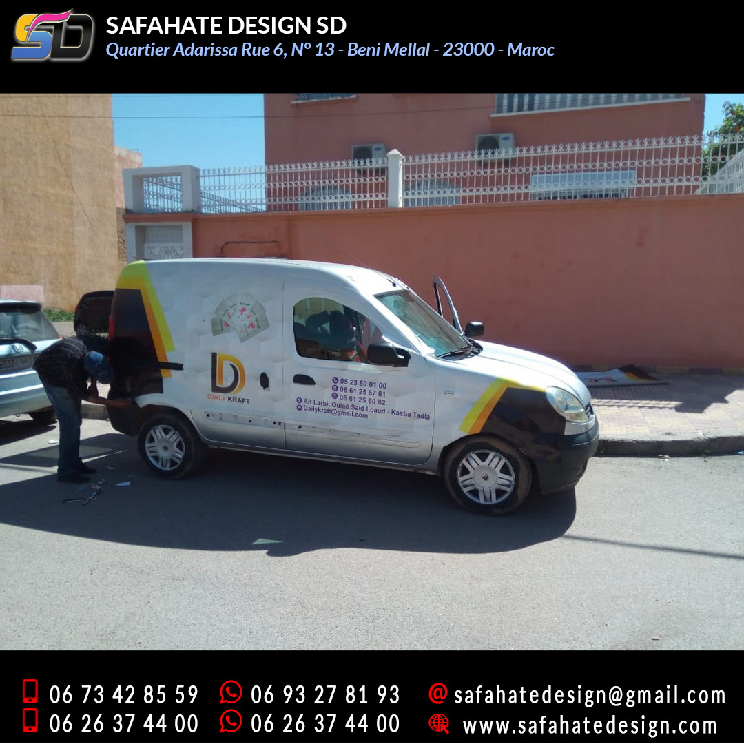 Habillage vehicule vinyl adhésif imprimerie safahate design beni mellal (12)
