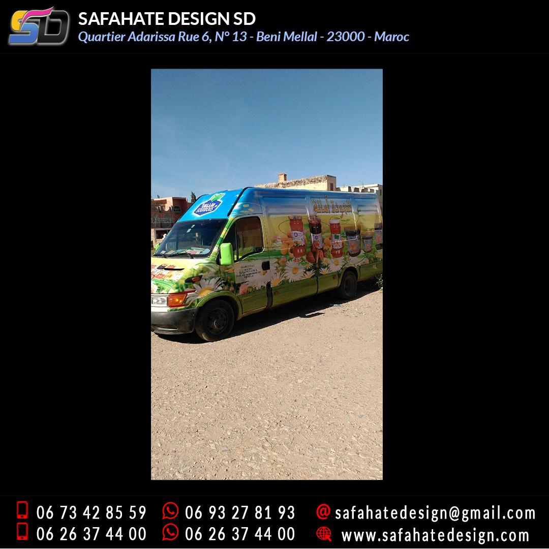 Habillage vehicule vinyl adhésif imprimerie safahate design beni mellal